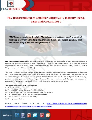 FES Transconductance Amplifier Market 2017 Industry Trend, Sales and Forecast 2021