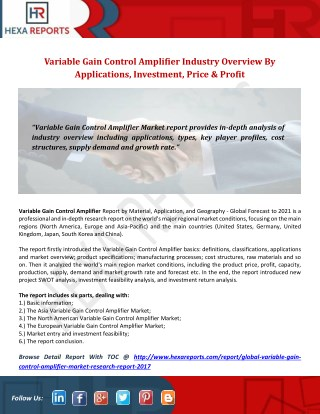 Variable Gain Control Amplifier Industry Overview By Applications, Investment, Price & Profit