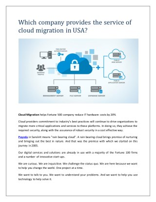 Which company provides the service of cloud migration in USA?