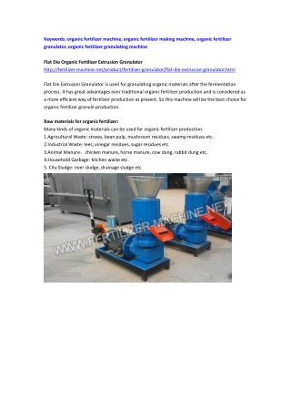 Flat Die Organic Fertilizer Extrusion Granulator