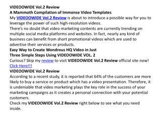 Videoowinde vol 2.0 review and huge bonus
