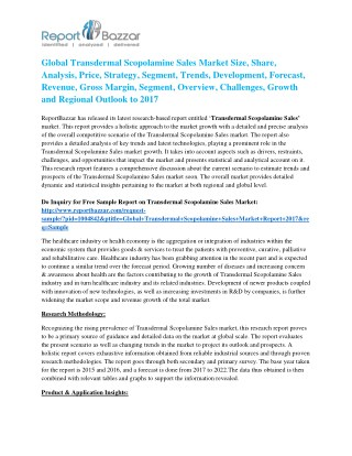 Transdermal Scopolamine Sales Market Analysis- Size, Share, overview, scope, Revenue, Gross Margin, Segment and Foreca