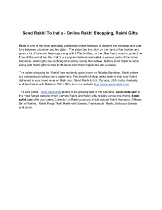 Send Rakhi to India |Rakhi Gift |Online Rakhi Shopping