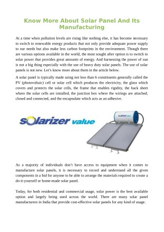 Know More About Solar Panel And Its Manufacturing