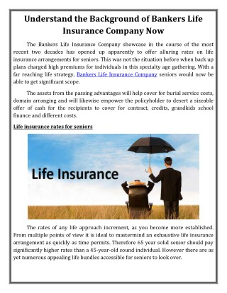 Understand the Background of Bankers Life Insurance Company Now