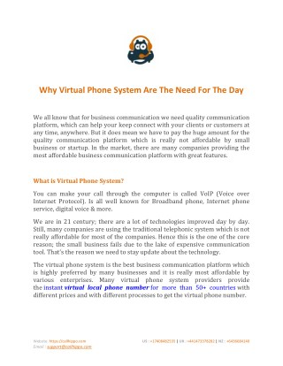 Why Virtual Phone System Are The Need For The Day