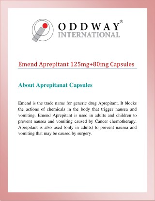 MSD Emend Capsules Price India | MSD Aprepitant 125mg & Aprepitant 80mg Capsules