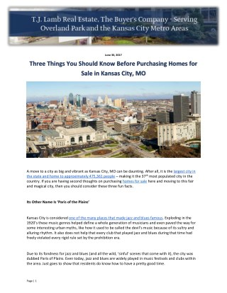 Three Things You Should Know Before Purchasing Homes for Sale in Kansas City, MO