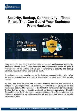 Security, Backup, Connectivity – Three Pillars That Can Guard Your Business From Hackers.