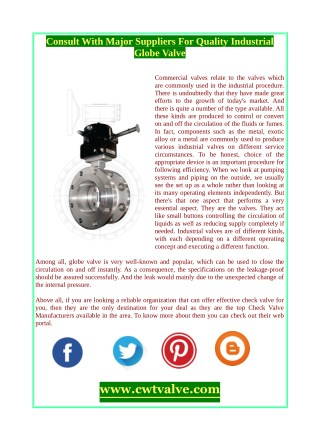 Consult With Major Suppliers For Quality Industrial Globe Valve