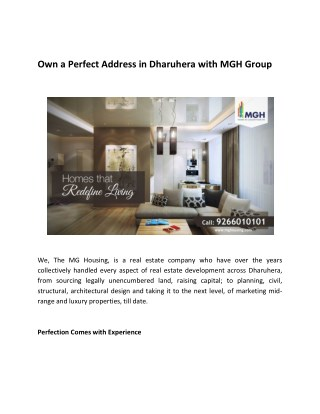 Own a Perfect Address in Dharuhera with MGH Group