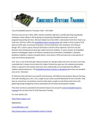 Top 10 Embedded Systems Training in India - VLSI GURU
