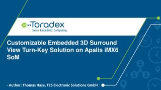 Customizable Embedded 3D Surround View Turn-Key Solution on Apalis iMX6 SoM