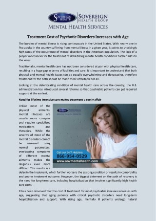 Treatment Cost of Psychotic Disorders Increases With Age