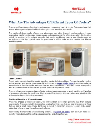 What Are The Advantages Of Different Types Of Coolers?