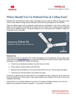 Where Should You Use Pedestal Fans & Ceiling Fans?