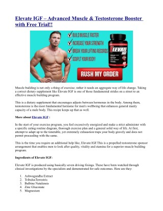 Elevate IGF – Advanced Muscle & Testosterone Booster with Free Trial!!