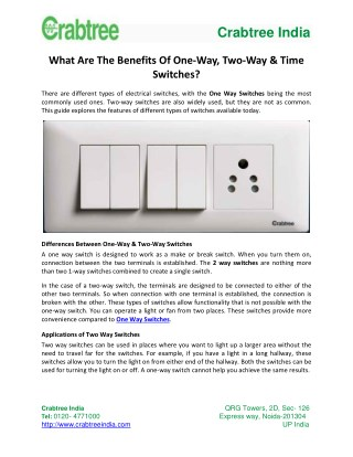 What Are The Benefits Of One-Way, Two-Way & Time Switches?