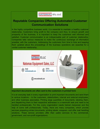Reputable Companies Offering Automated Customer Communication Solutions