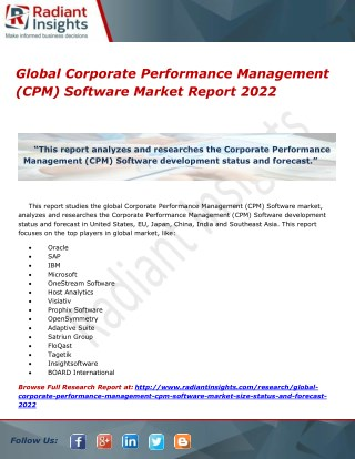 Corporate Performance Management (CPM) Software Market