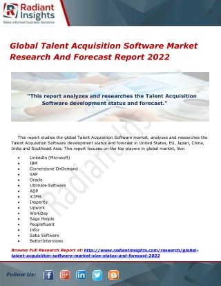 Global Talent Acquisition Software Market Research And Forecast Report 2022