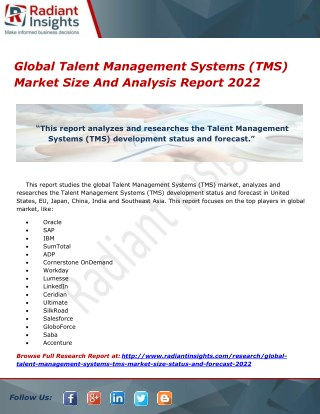 Global Talent Management Systems (TMS) Market Size And Analysis Report 2022