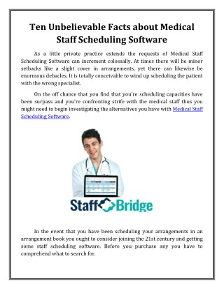 Ten Unbelievable Facts about Medical Staff Scheduling Software