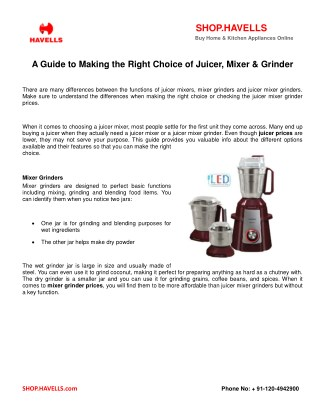 A Guide To Making The Right Choice Of Juicer, Mixer & Grinder