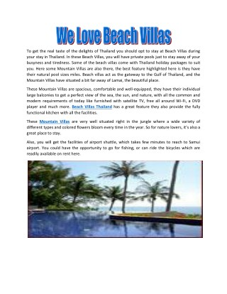 We Love Beach Villas
