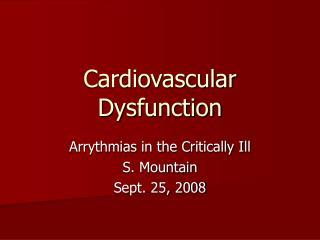 Cardiovascular Dysfunction