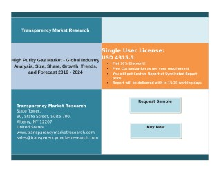 High Purity Gas Market - Global Scenario, Raw Material and Consumption Trends, Analysis, Size, Share and Forecasts to 20