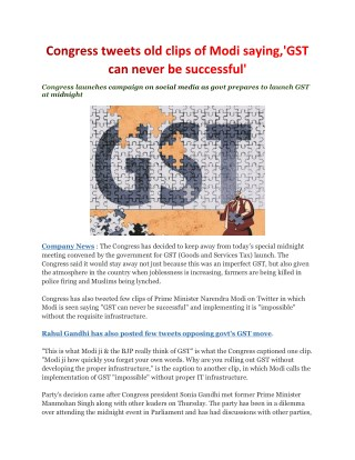 Congress tweets old clips of Modi saying,'GST can never be successful'