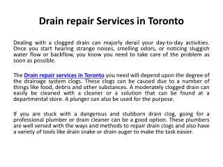 Drain repair services in Toronto
