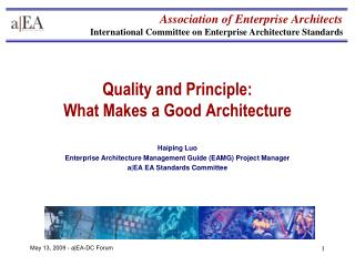 Quality and Principle: What Makes a Good Architecture