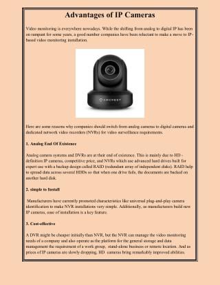 Advantages of IP Cameras