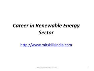 Career in Renewable Energy Industry