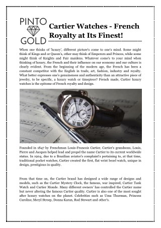 Cartier Watches - French Royalty at Its Finest!