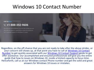 Windows 10 Contact Number
