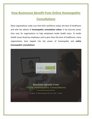 Business Benefits from Online Homeopathic Consultation