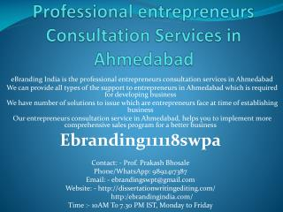 Professional entrepreneurs Consultation Services in Ahmedabad
