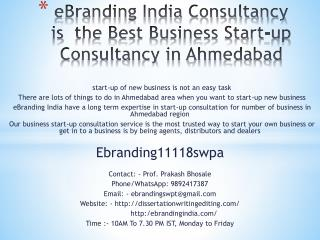 eBranding India Consultancy is  the Best Business Start-up Consultancy in Ahmedabad