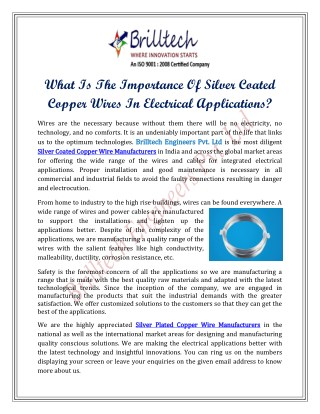 What Is The Importance Of Silver Coated Copper Wires In Electrical Applications?