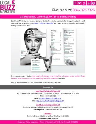 Graphic Design, Cambridge, UK - Local Buzz Marketing