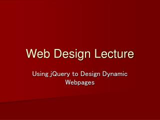 Web Design Lecture