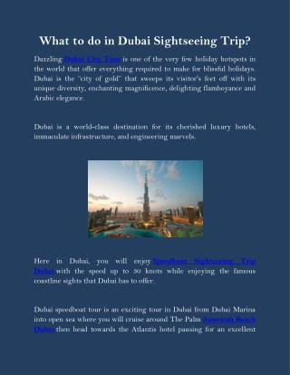 What to do in Dubai Sightseeing trip?