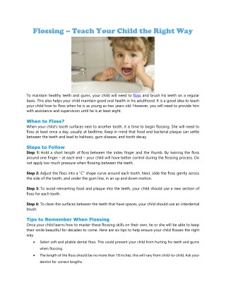 Flossing – Teach Your Child the Right Way