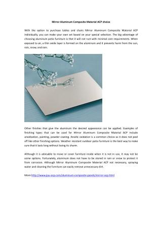 Mirror Aluminum Composite Material ACP choice