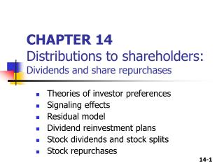 CHAPTER 14 Distributions to shareholders:  Dividends and share repurchases