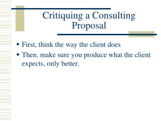 Critiquing a Consulting Proposal