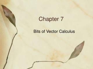 Bits of Vector Calculus